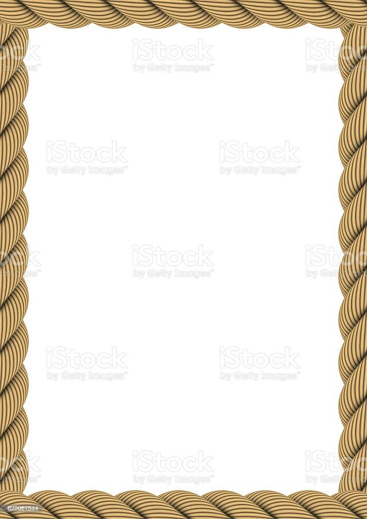 A4 Rectangular Rope Frame Isolated on White stock photo