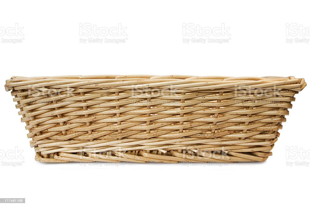 Rectangular wicker basket on white background  stock photo