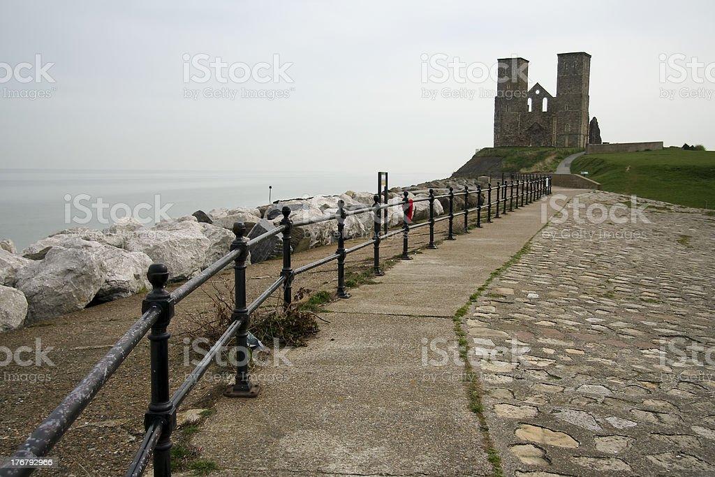 reculver towers herne bay sea defenses stock photo