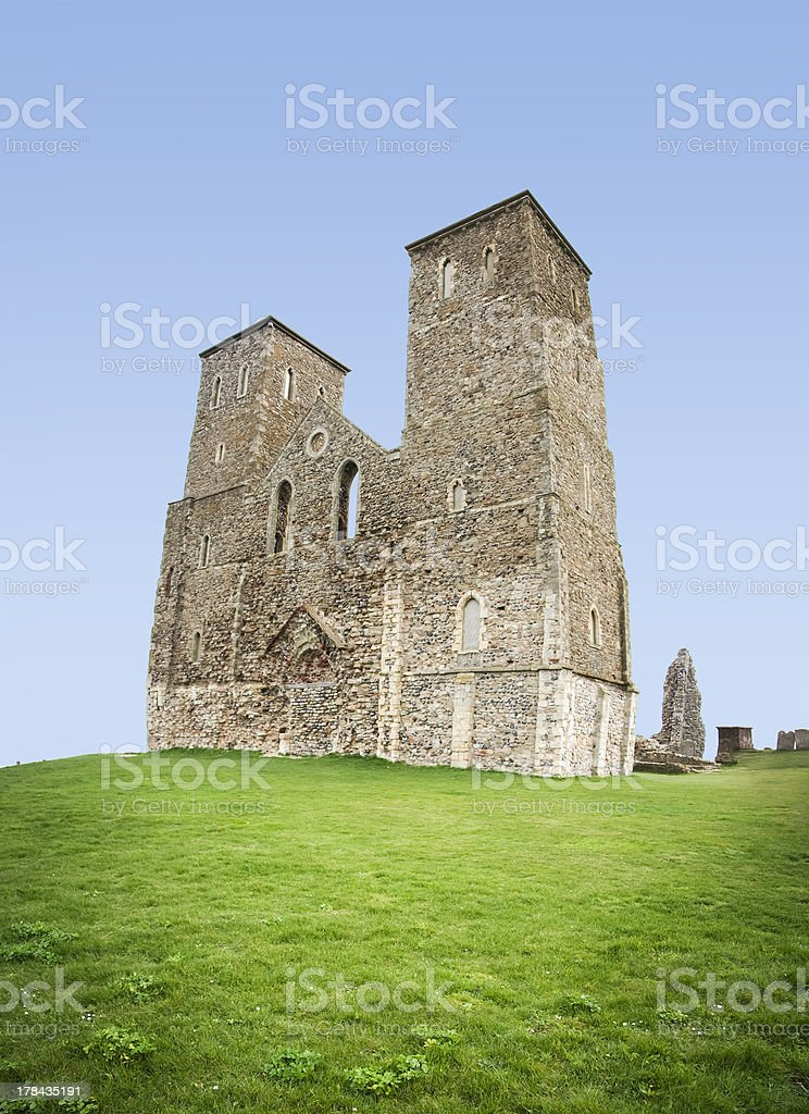reculver towers roman fort herne bay kent royalty-free stock photo