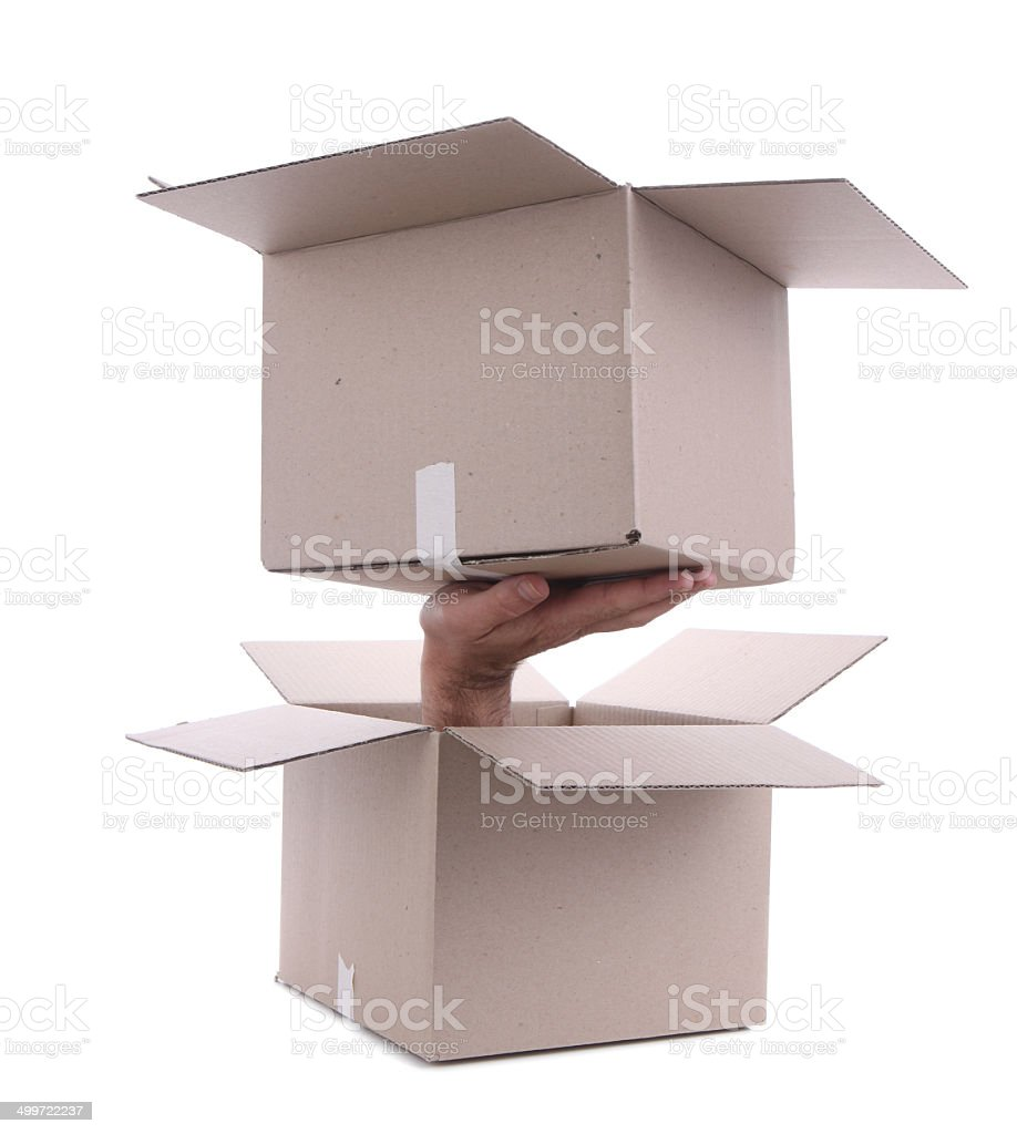 Recursion - Box coming out of Box stock photo
