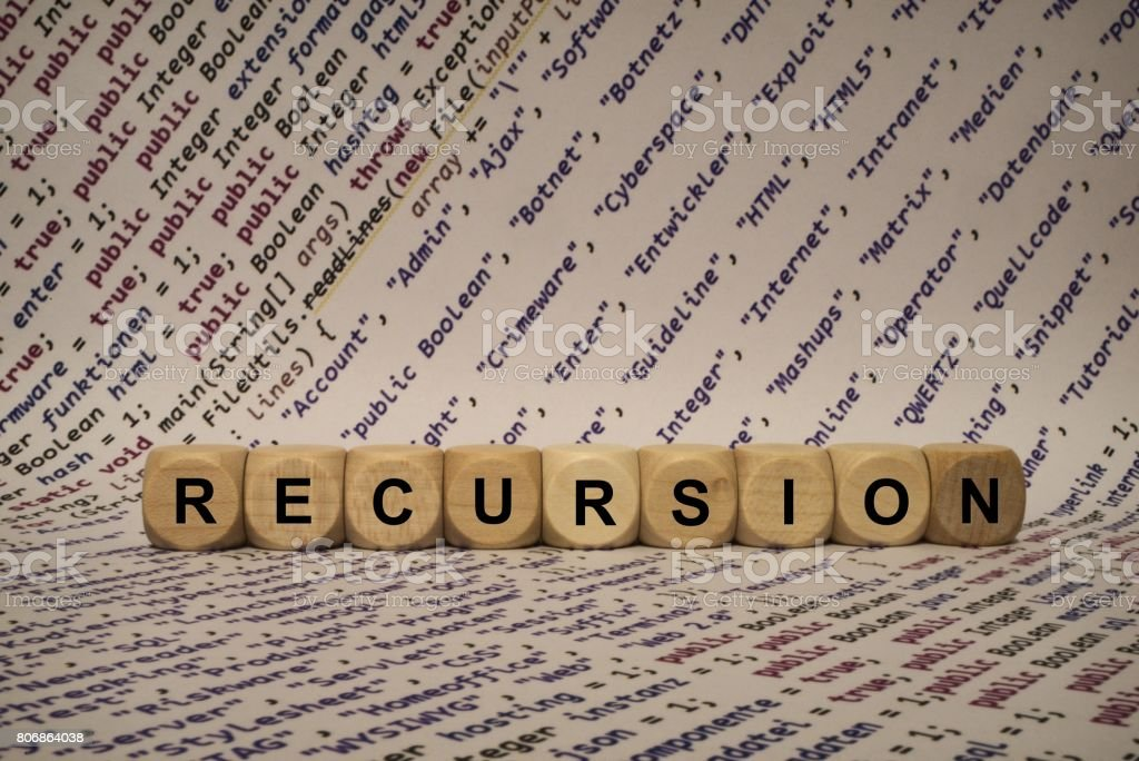 recursion - cube with letters and words from the computer, software, internet categories, wooden cubes stock photo