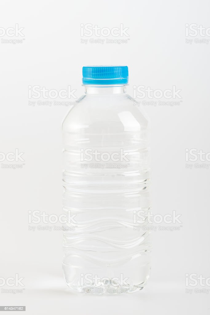 Recyclable garbage of plastic bottles on white background stock photo