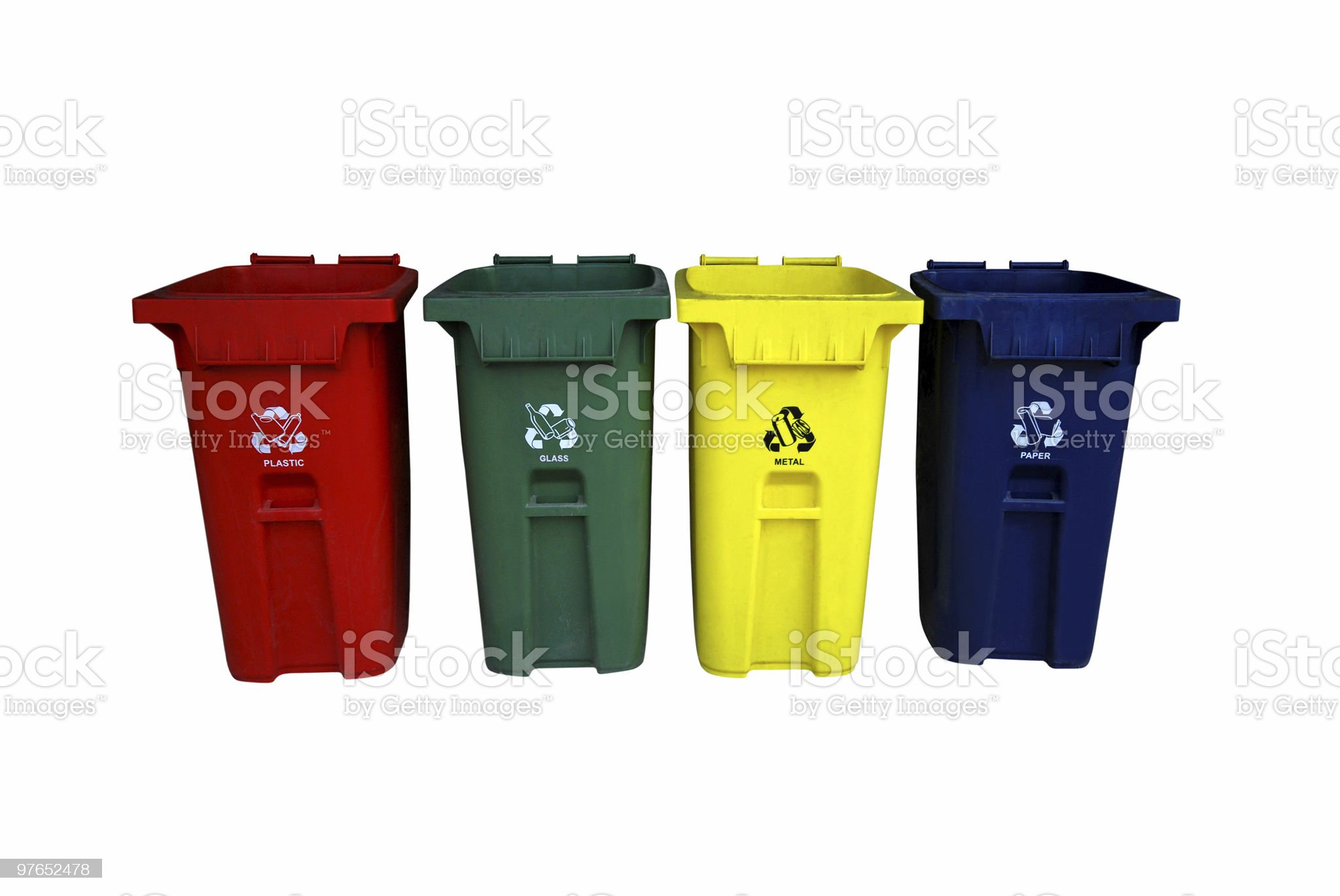 Recycle bins - Clipping path royalty-free stock photo