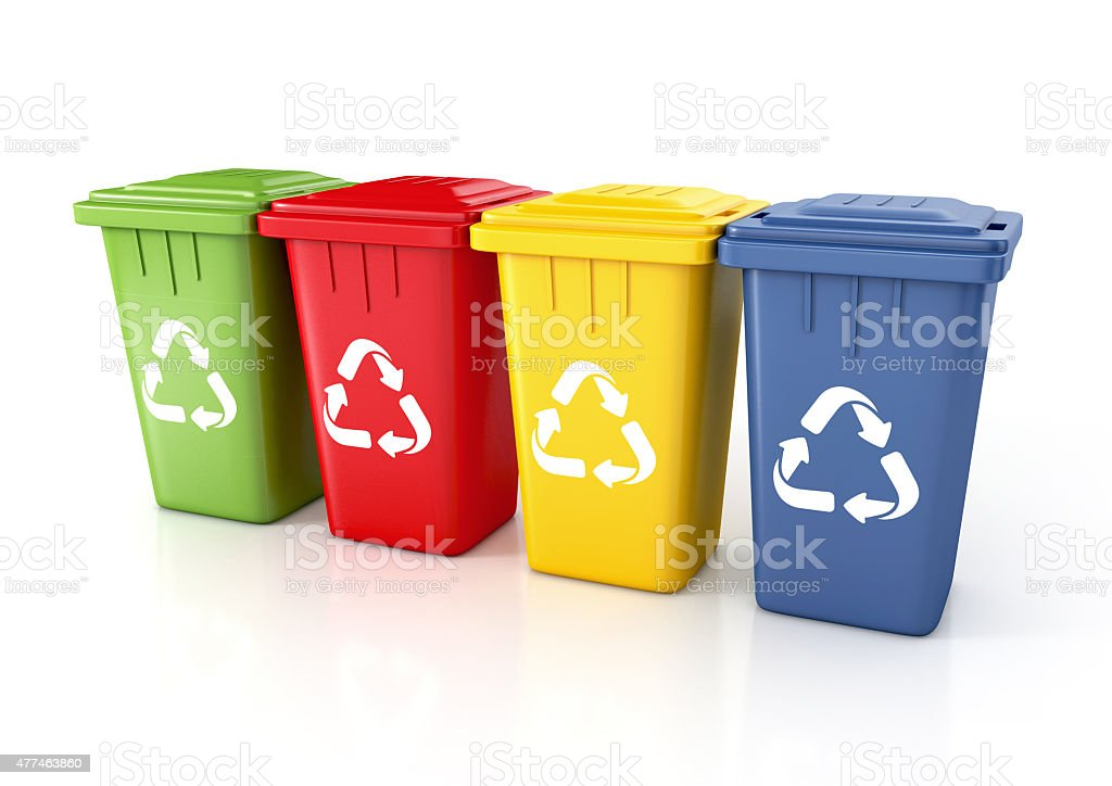 Recycle bins with recycle sign stock photo