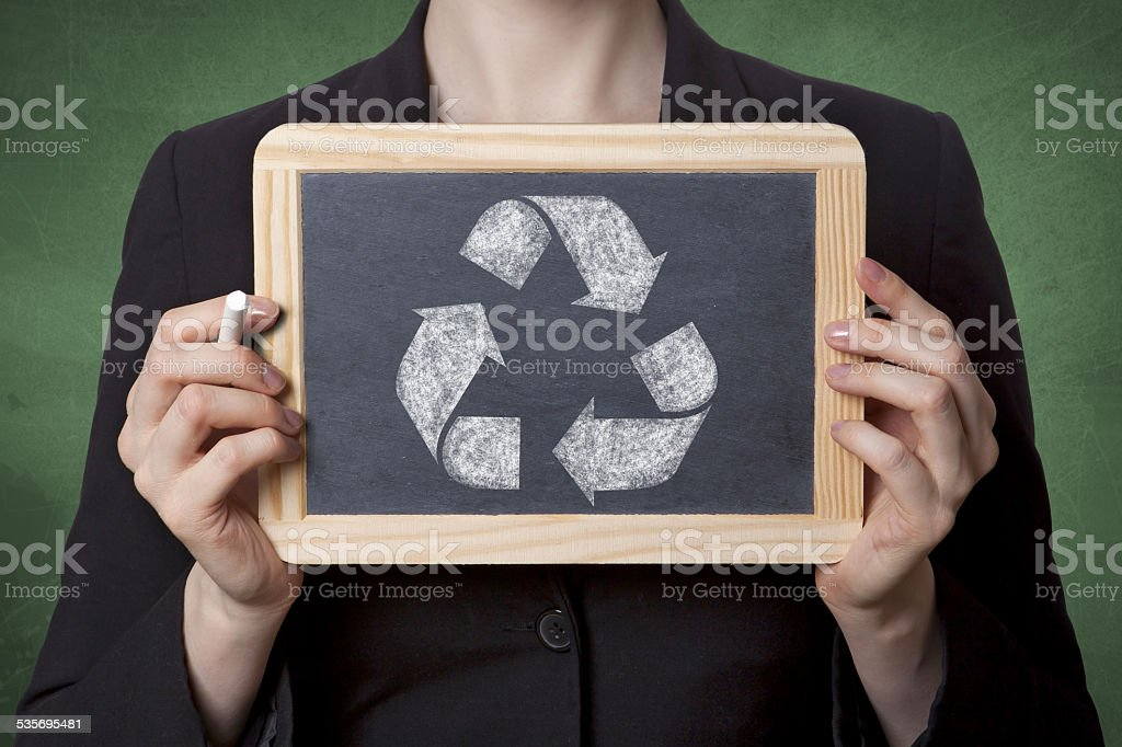 Recycle black board stock photo