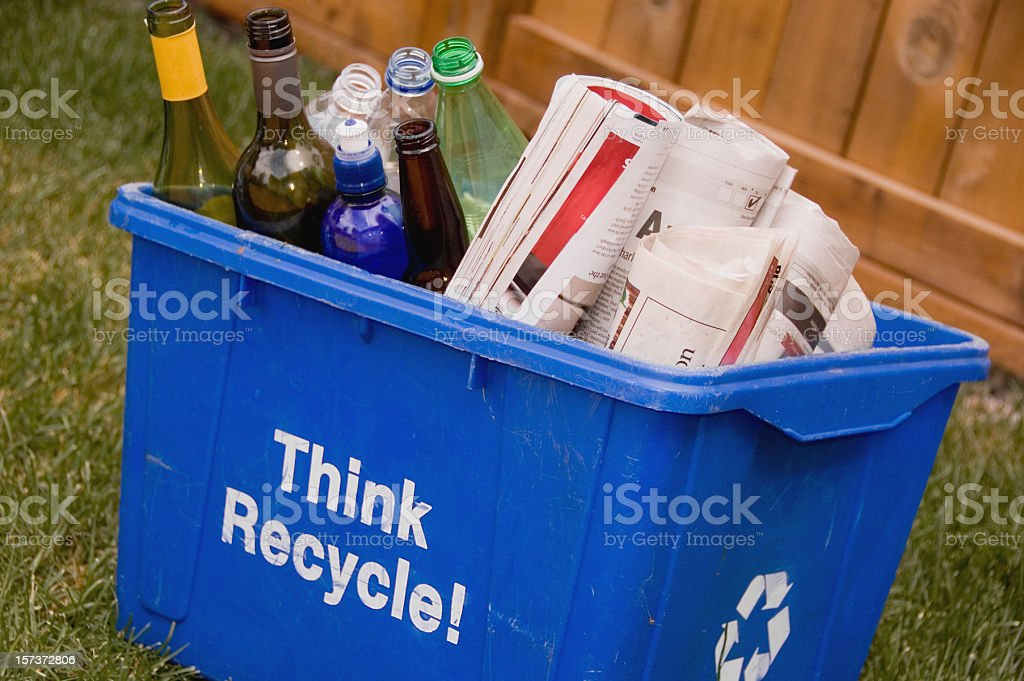 Recycle blue box stock photo