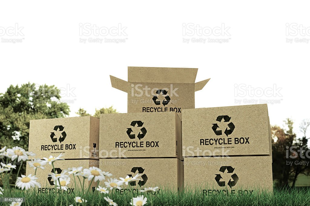 recycle boxes stock photo
