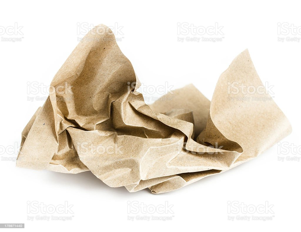 Recycle brown crumpled paper on white background royalty-free stock photo