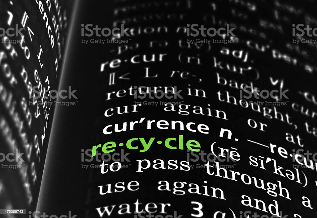 Recycle Defined on Black royalty-free stock photo