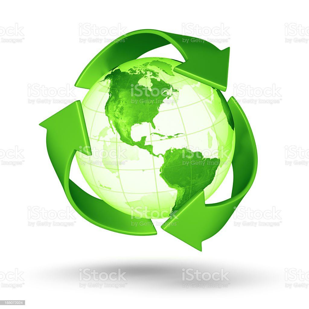 Recycle Earth - Americas Western Hemisphere royalty-free stock photo