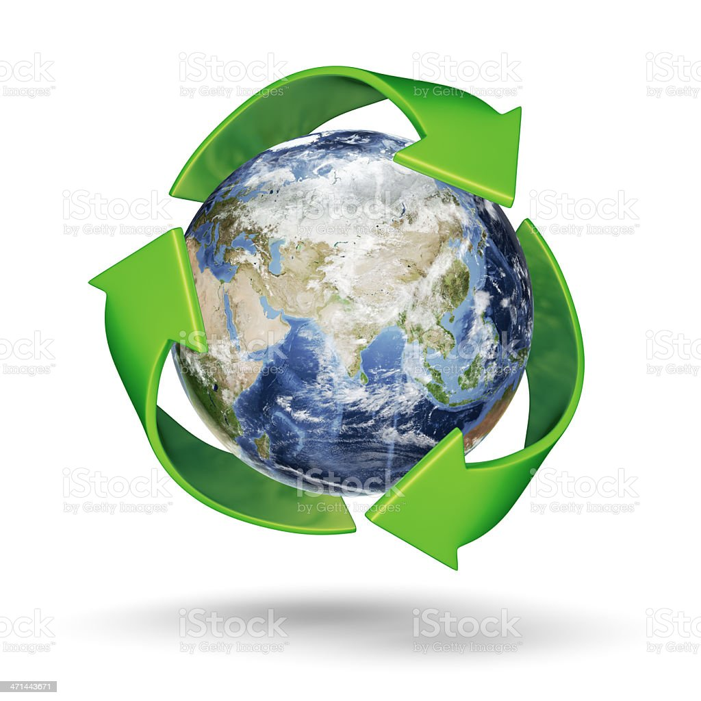 Recycle Earth - Eastern Hemisphere stock photo