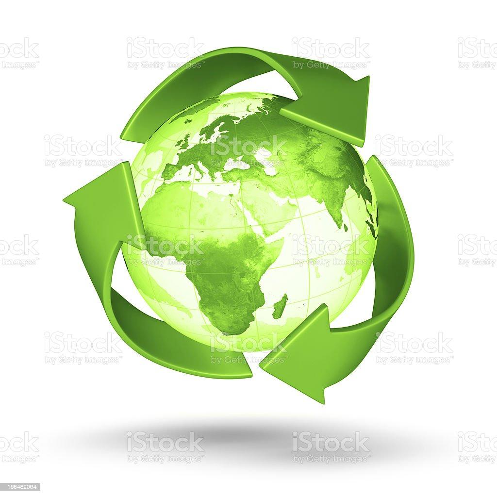 Recycle Earth - European Eastern Hemisphere royalty-free stock photo