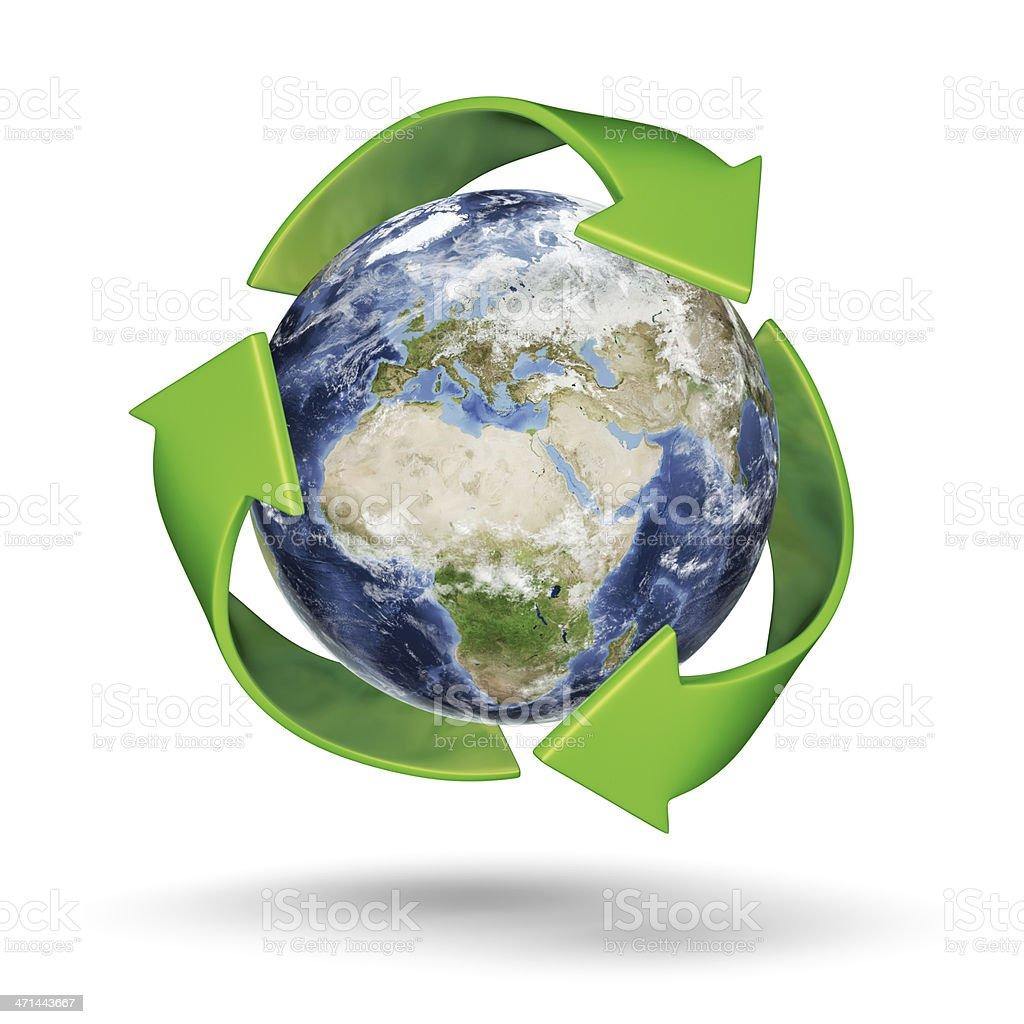 Recycle Earth - European Eastern Hemisphere stock photo