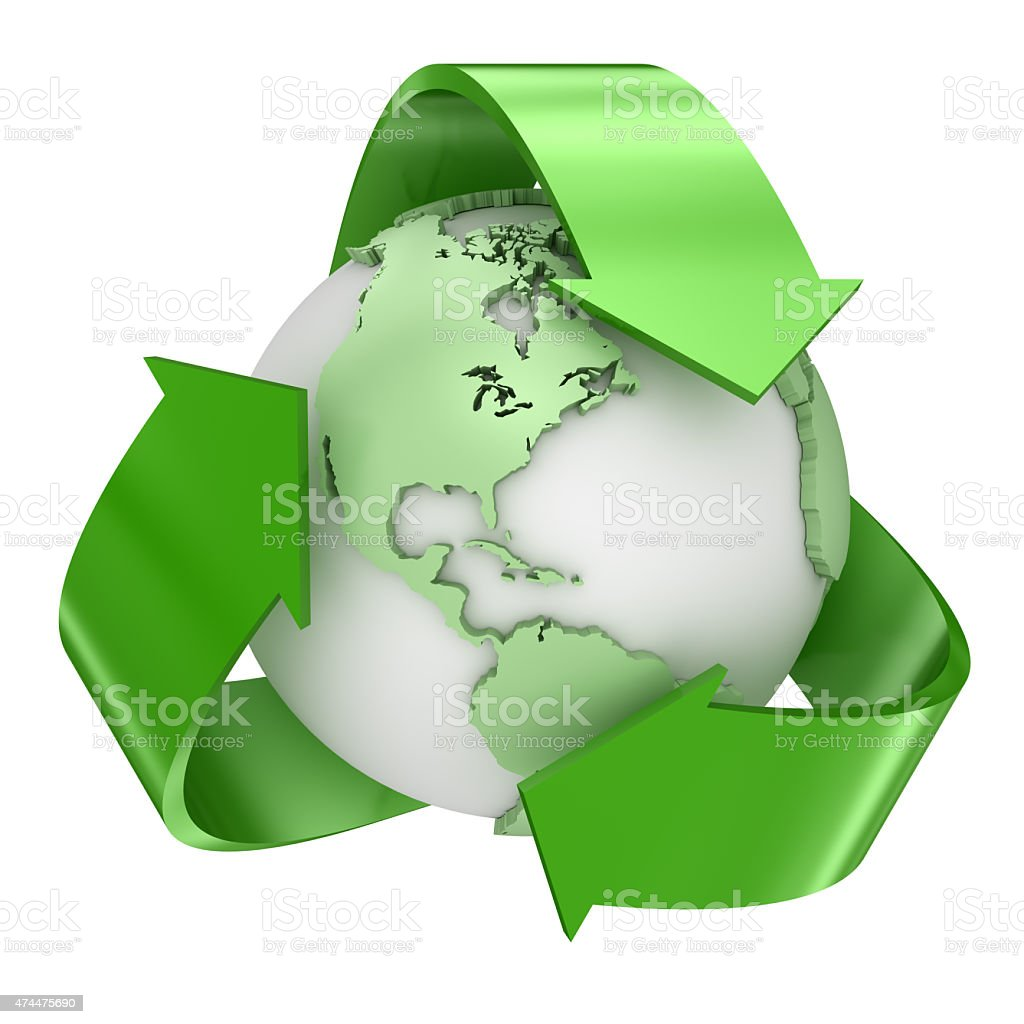 Recycle earth symbol vector art illustration
