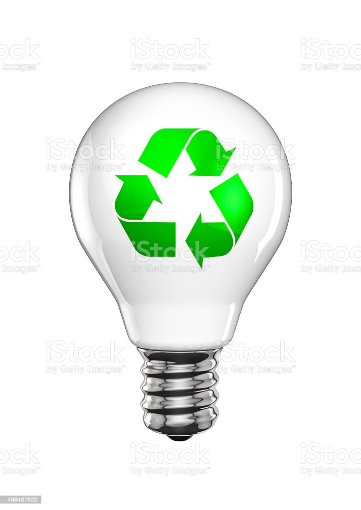 Recycle light bulb stock photo