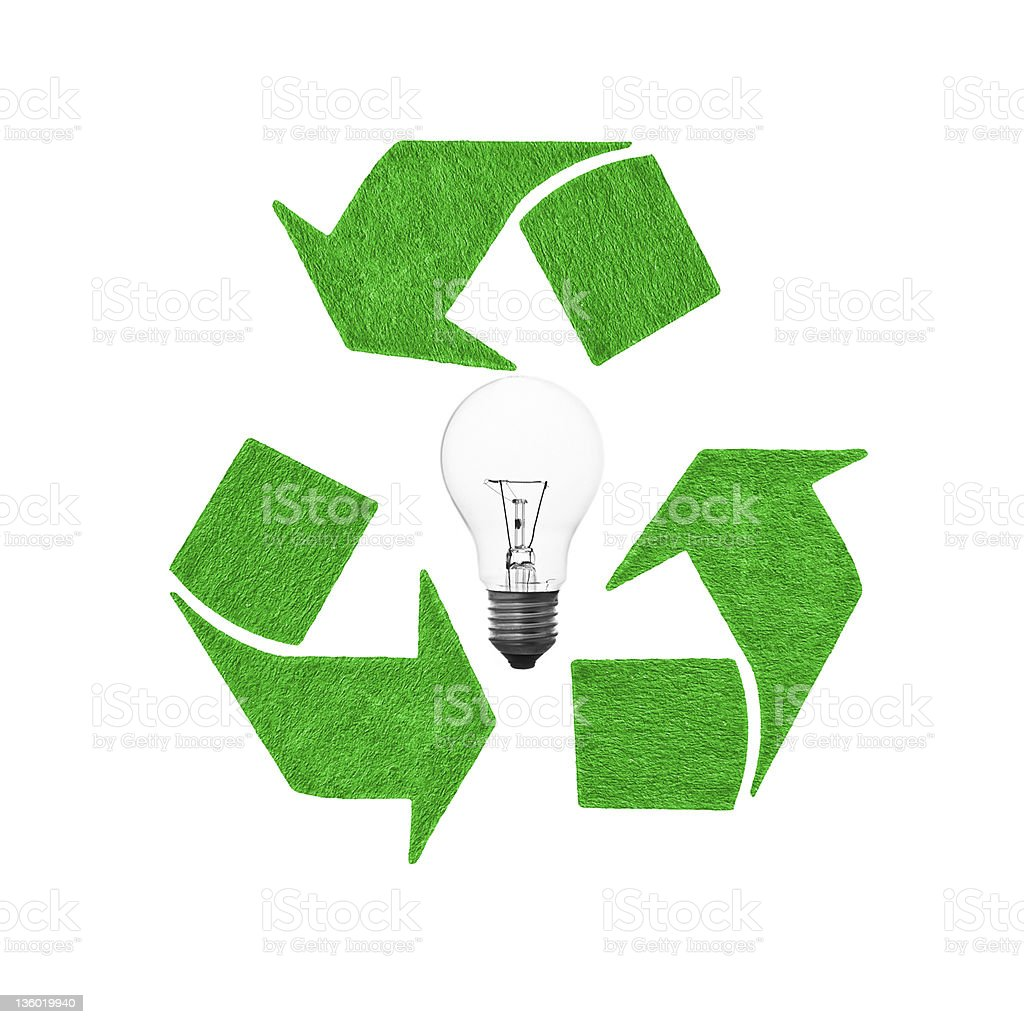 recycle lightbulb stock photo