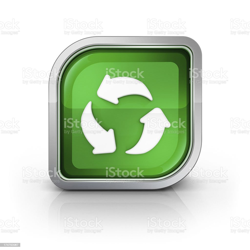 Recycle or green energy glossy icon stock photo
