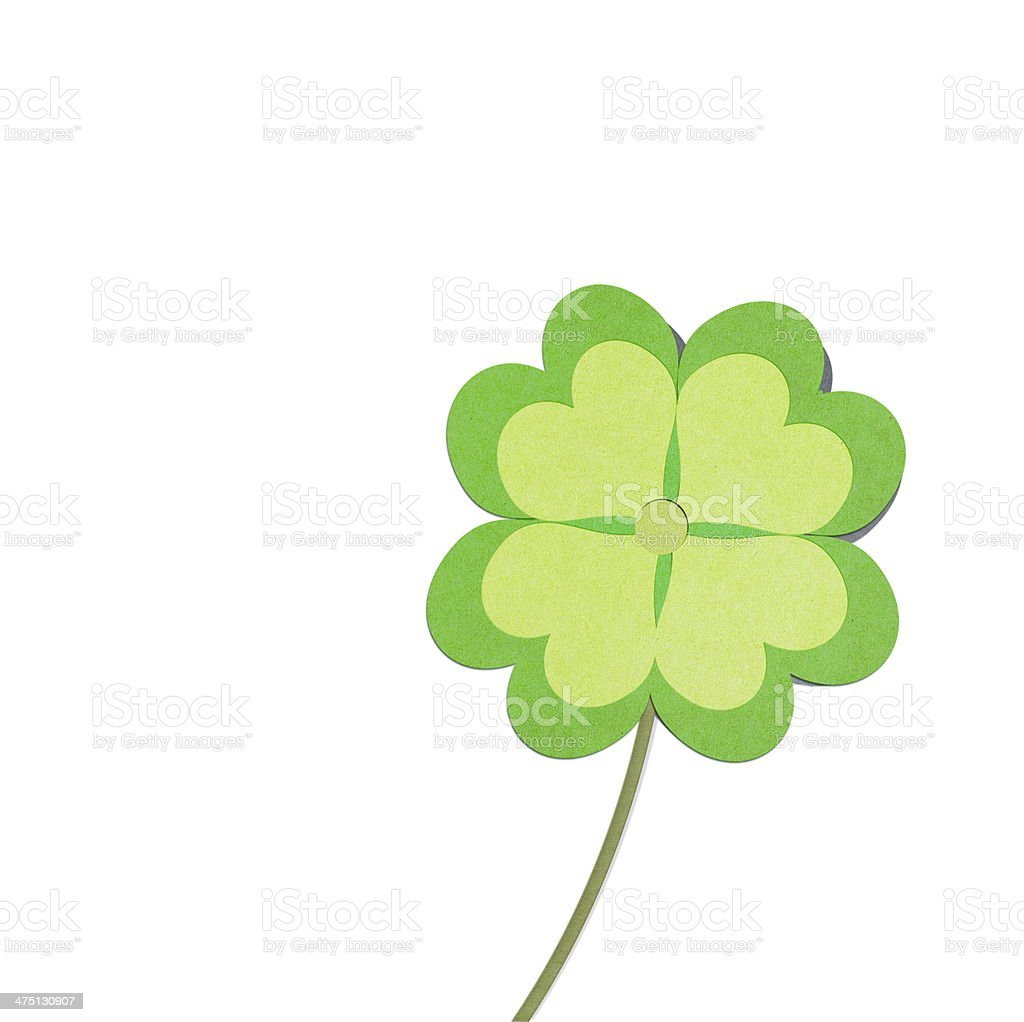 recycle paper clover with four leaves stock photo