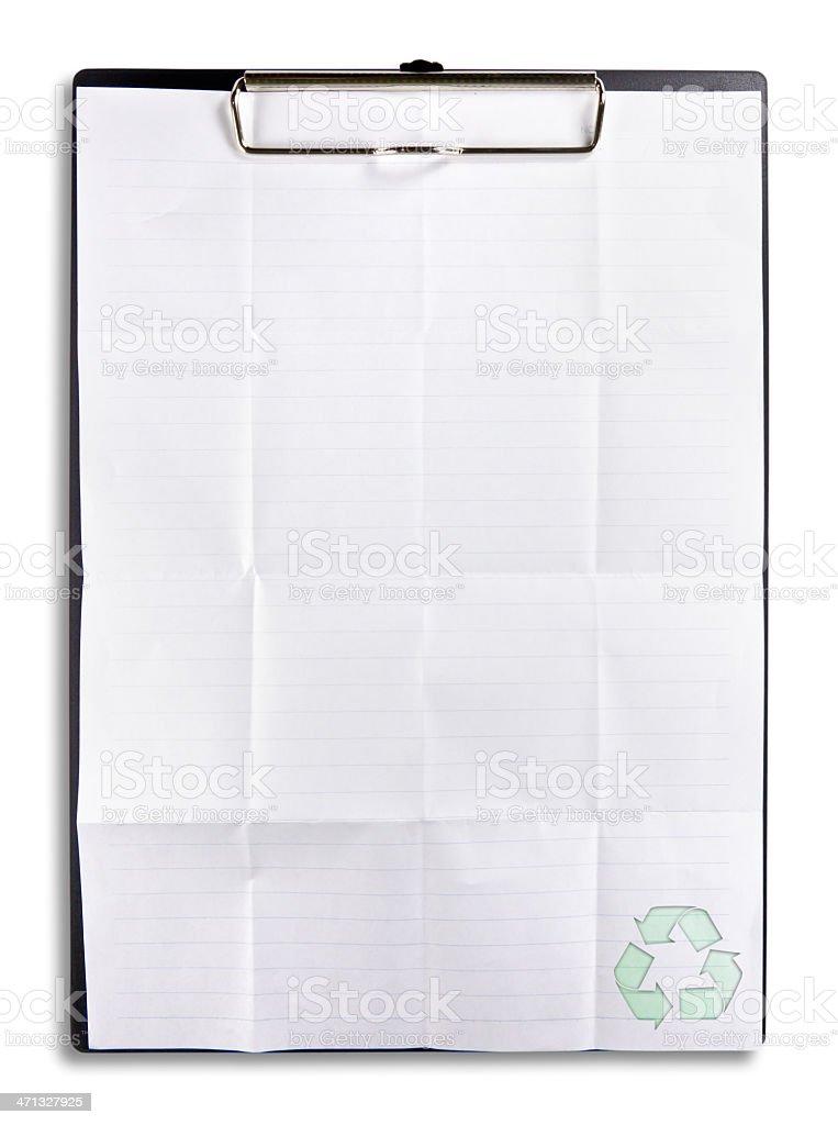 Riciclare carta con clip isolato su scheda foto stock royalty-free