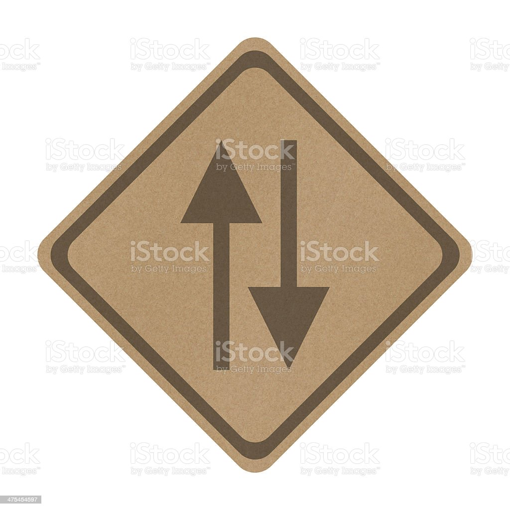 Recycle paper Two way sign isolated on white stock photo