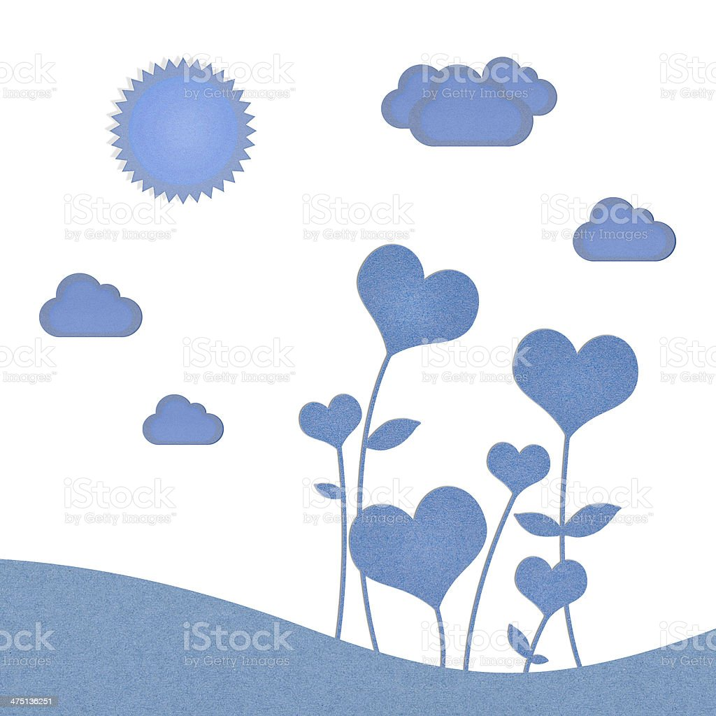 Recycle paper valentine flower background for romance, wedding a stock photo