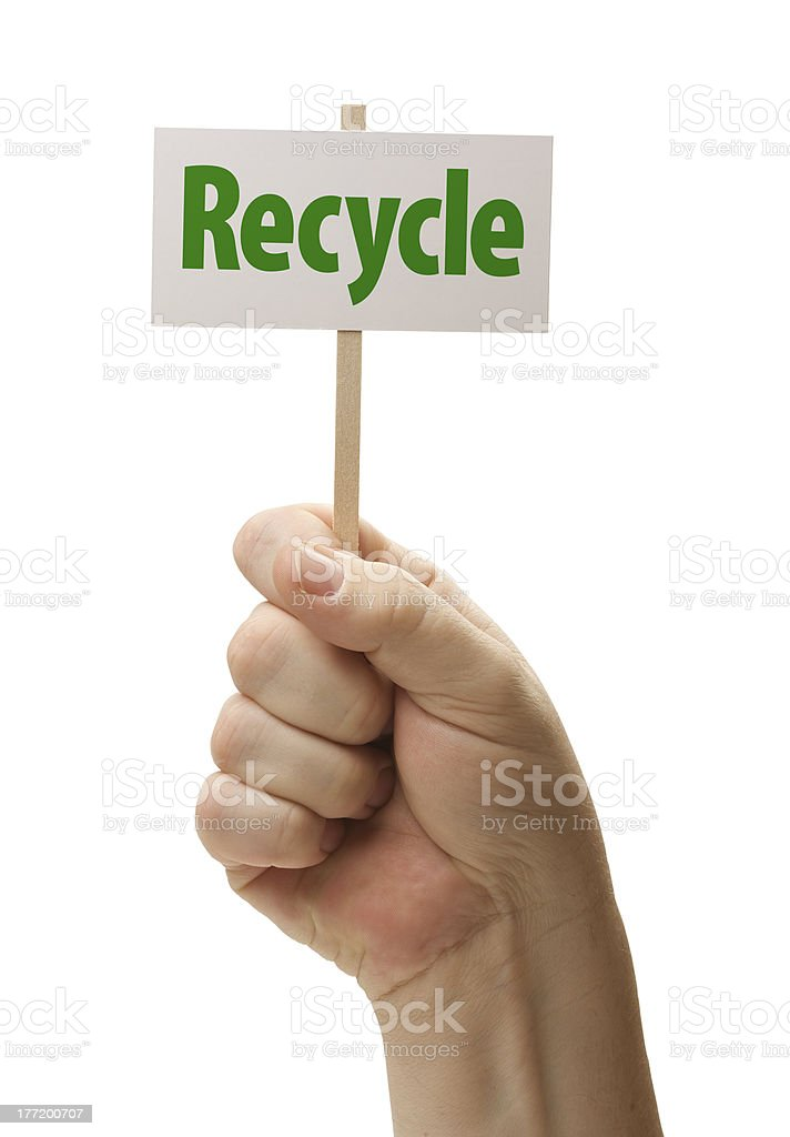 Recycle Sign In Fist On White royalty-free stock photo