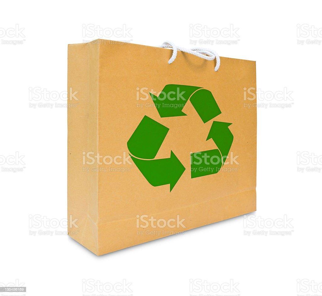 Riciclare segno il sacco di carta marrone foto stock royalty-free