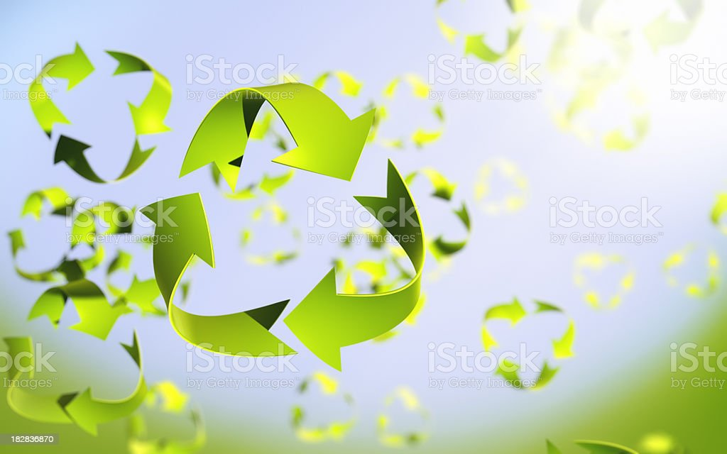Recycle symbol leaves in spring breeeze stock photo