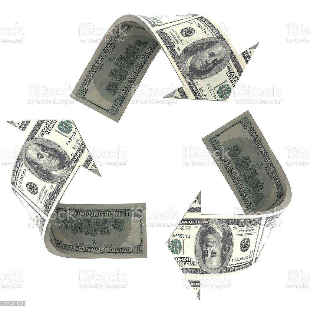 Recycle Symbol made of Dollar bills. stock photo