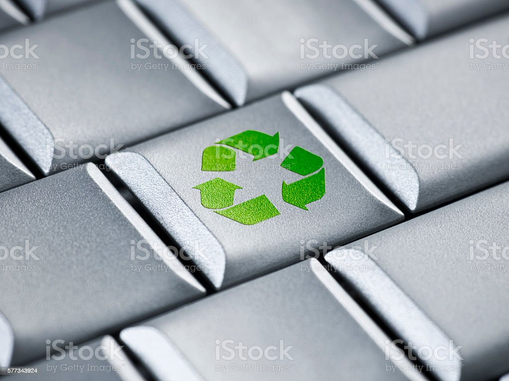 Recycle symbol on a computer stock photo