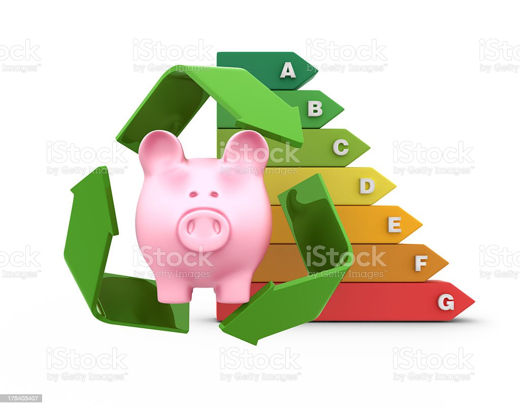 Recycle Symbol with Piggy bank royalty-free stock photo