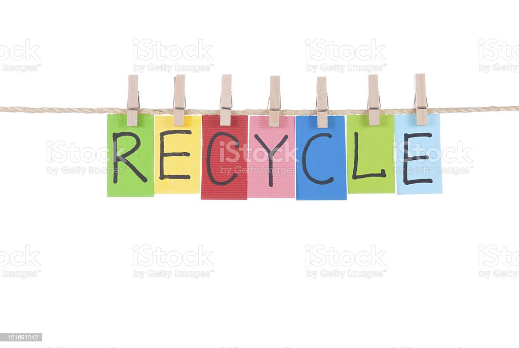 Recycle, words hang by wooden peg stock photo