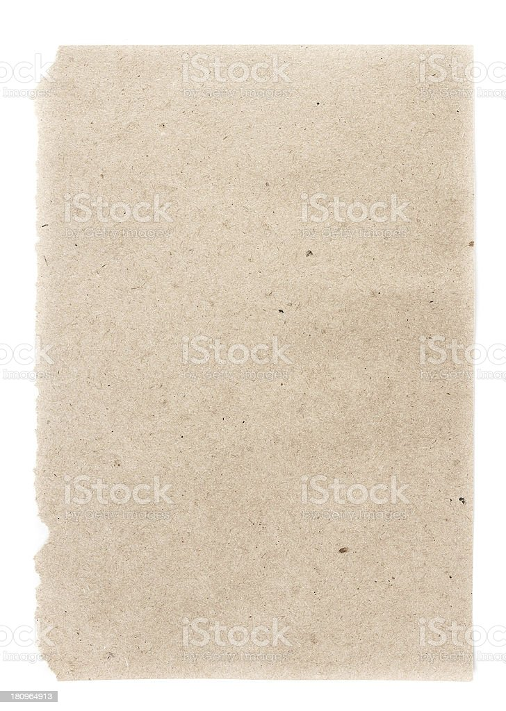 Recycled beige  paper  sheet texture or background with Torn edg stock photo