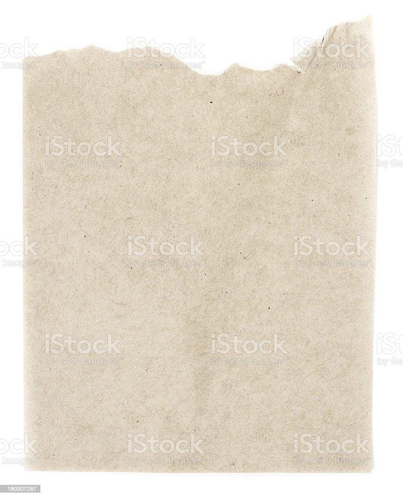 Recycled beige paper  texture or background with Torn edge.  Old royalty-free stock photo