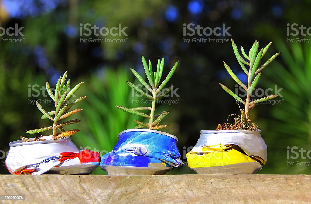 Recycled can concept. stock photo
