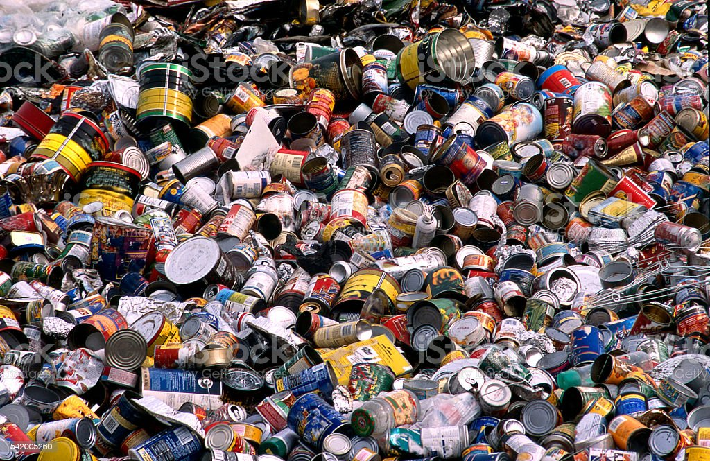 recycled cans stock photo