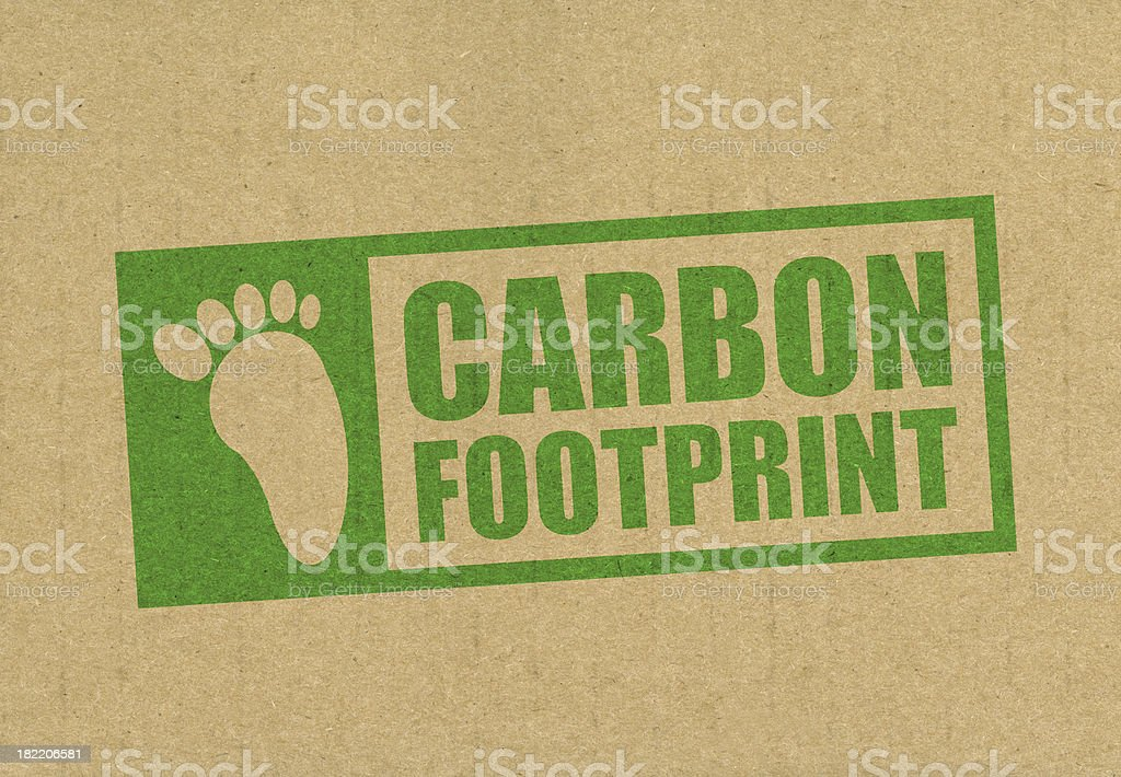 Recycled card with carbon footprint royalty-free stock photo