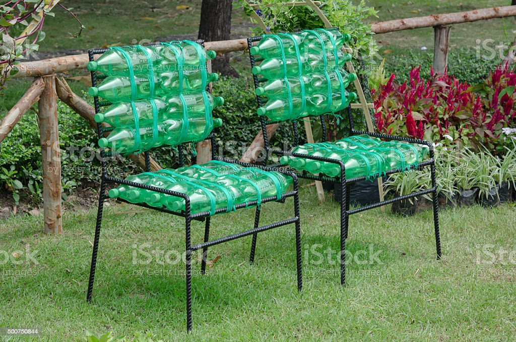 recycled chair made from plastic bottle stock photo