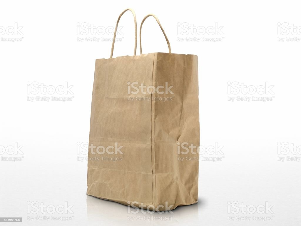 recycled kraft paper - used ecological shopping bag royalty-free stock photo