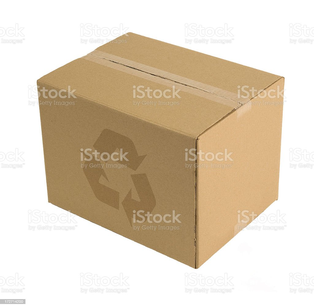Recycled logo on cardboard box side. royalty-free stock photo