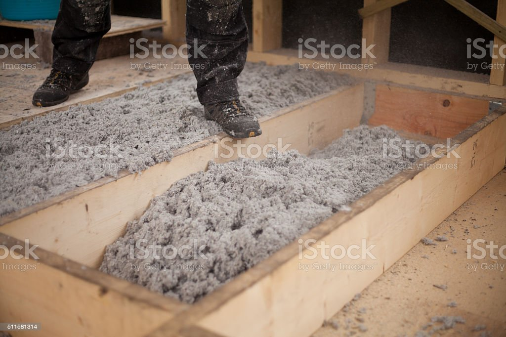 recycled paper floor construction insulation stock photo