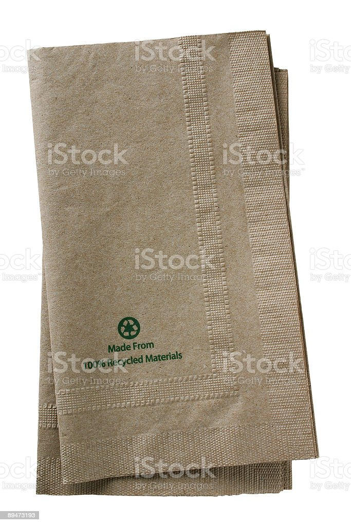Recycled Paper Napkins - clipping path stock photo