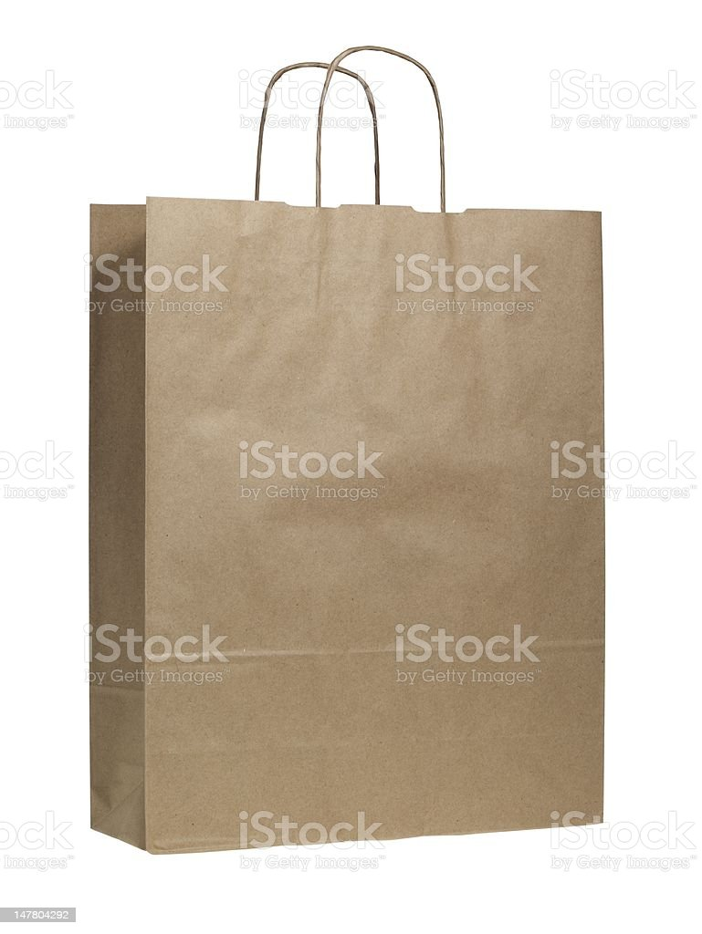 Recycled paper shopping bags(isolated with clipping path over white background) royalty-free stock photo