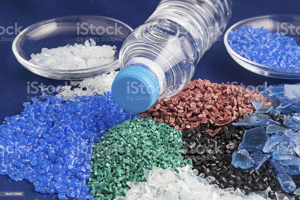 Recycled plastic granules stock photo