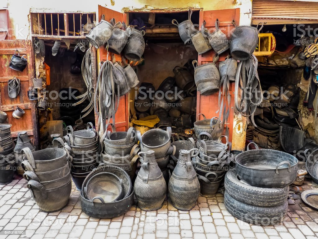Recycled tires at a market stock photo