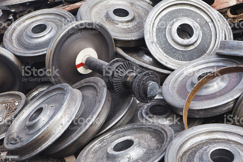 recycled train wheels royalty-free stock photo