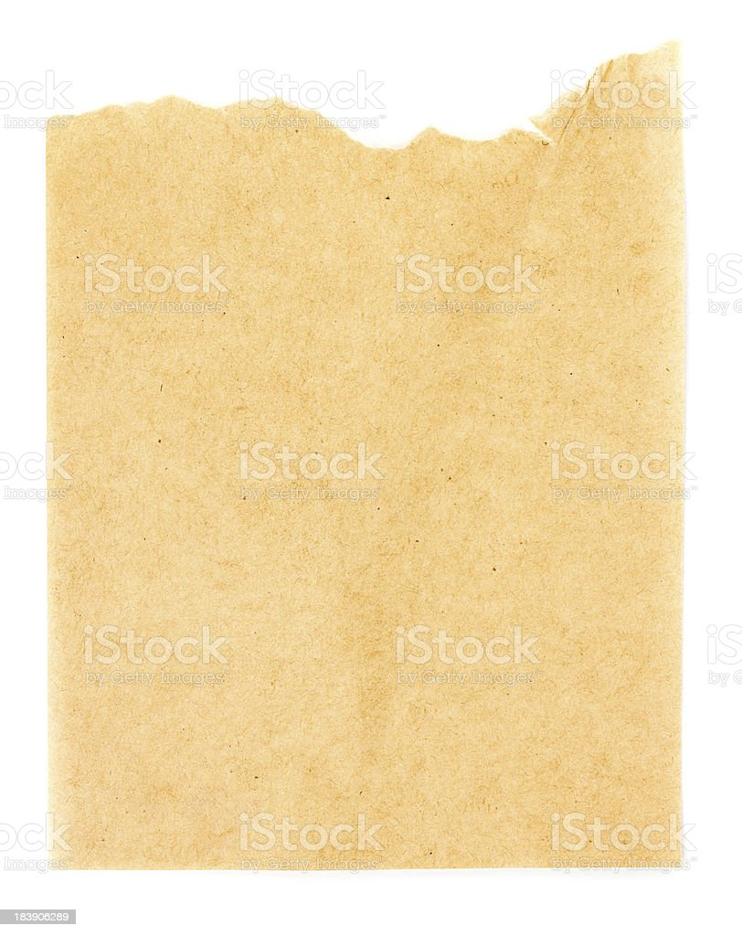 Recycled yellow paper  sheet texture or background with Torn edg stock photo