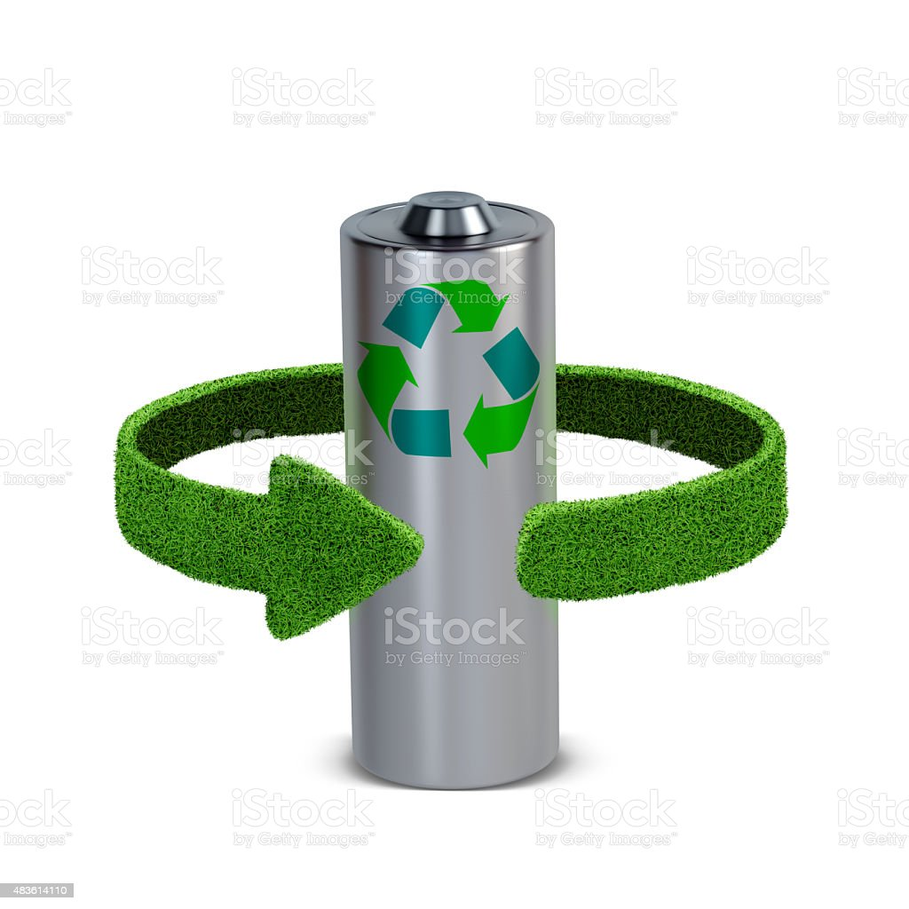 Recycling batteries and accumulators.  Recycling concept stock photo