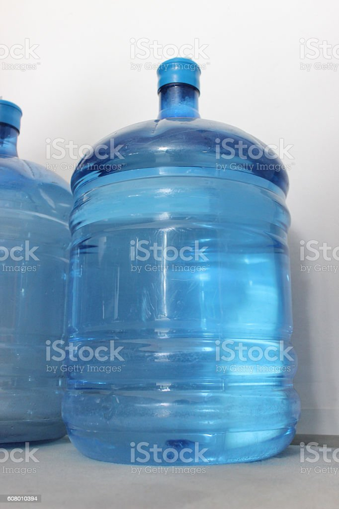 Recycling big plastic water bottles stock photo